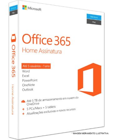 MICROSOFT OFFICE 365 HOME ANUAL – 5 DISPOSITIVOS (PC, MAC, ANDROID OU IOS) + 1 TB ONE DRIVE – ESD