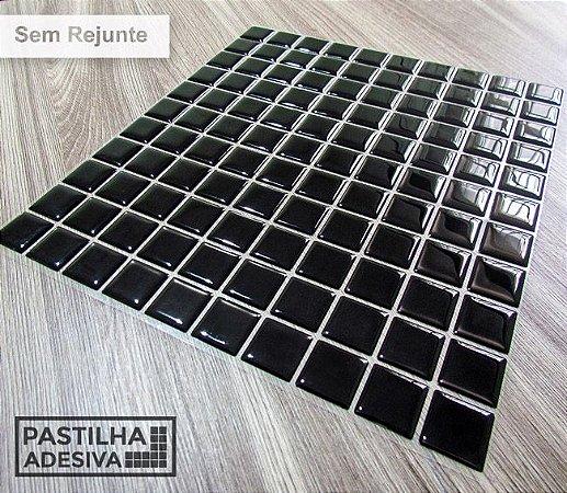 Placa Pastilha Adesiva Resinada 30x27 cm - AT036 - Preto