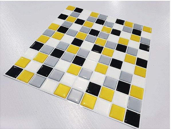 Placa Pastilha Adesiva Resinada 30x27 cm - AT054 - Amarelo