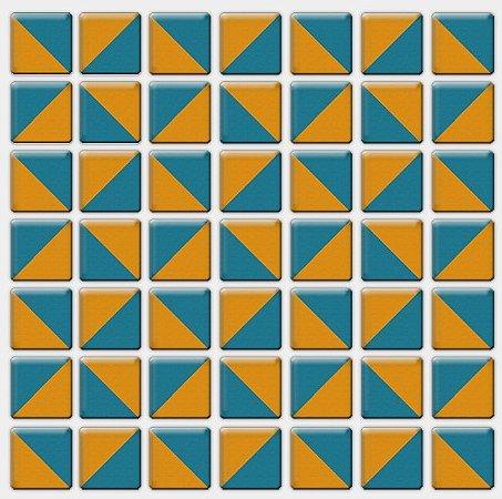 Placa Pastilha Adesiva Resinada 18x18 cm - AT084 - Amarela Azul