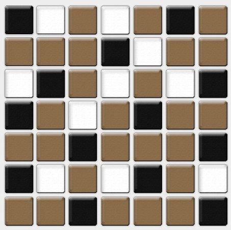 Placa Pastilha Adesiva Resinada 18x18 cm - AT085 - Marrom