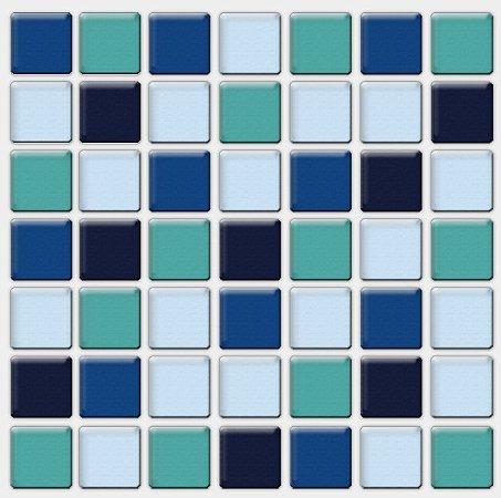 Placa Pastilha Adesiva Resinada 18x18 cm - AT093 - Azul