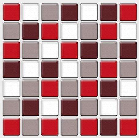 Placa Pastilha Adesiva Resinada 18x18 cm - AT095 - Vermelho