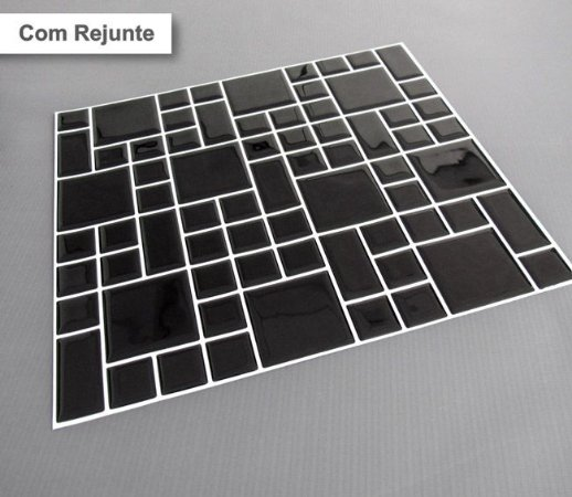 Placa Mosaico Adesiva Resinada 30x27 cm - AT102 - Preto