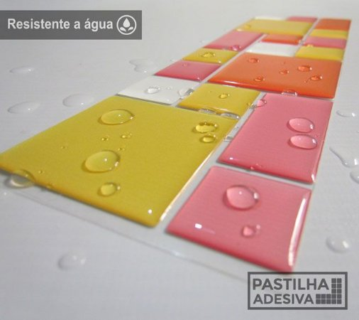 Faixa Mosaico Adesiva Resinada 27x8 cm - AT113 - Amarelo Rosa Laranja