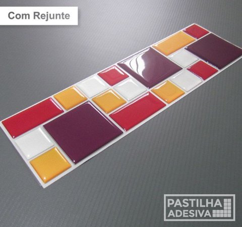 Faixa Mosaico Adesiva Resinada 27x8 cm - AT119 - Roxo Vermelho Amarelo