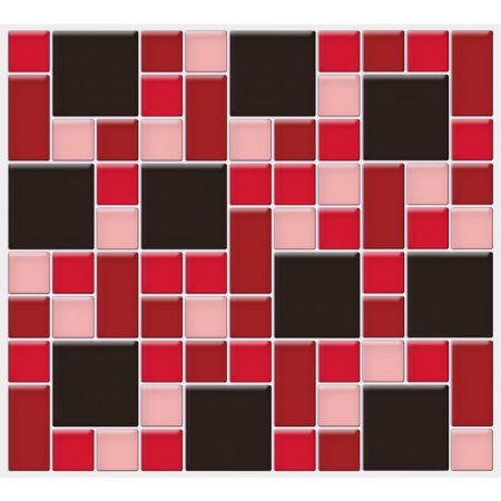 Placa Mosaico Adesiva Resinada 30x27 cm - AT132 - Vermelho