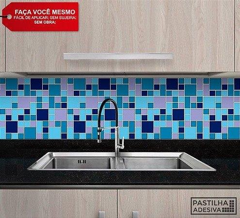 Placa Mosaico Adesiva Resinada 30x27 cm - AT133 - Azul