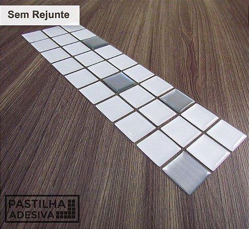 Faixa Pastilha Adesiva Resinada Aço Escovado 27x8 cm - AT143 - Branco