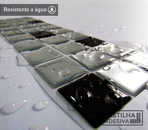 Faixa Pastilha Adesiva Resinada Aço Escovado 27x8 cm - AT149 - Escovado