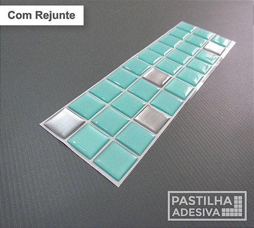 Faixa Pastilha Adesiva Resinada Aço Escovado 27x8 cm - AT154 - Verde