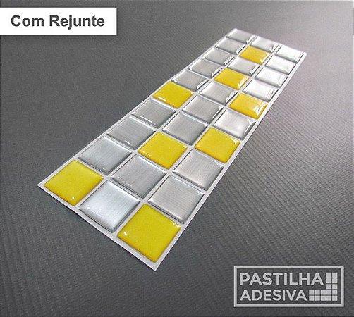 Faixa Pastilha Adesiva Resinada Aço Escovado 27x8 cm - AT158 - Amarela