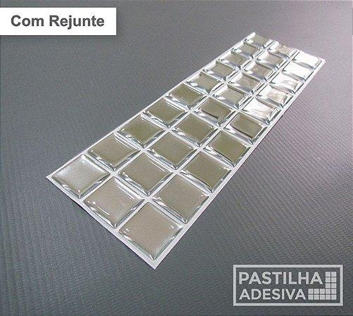 Faixa Pastilha Adesiva Resinada Espelhada 27x8 cm - AT167 - Prata