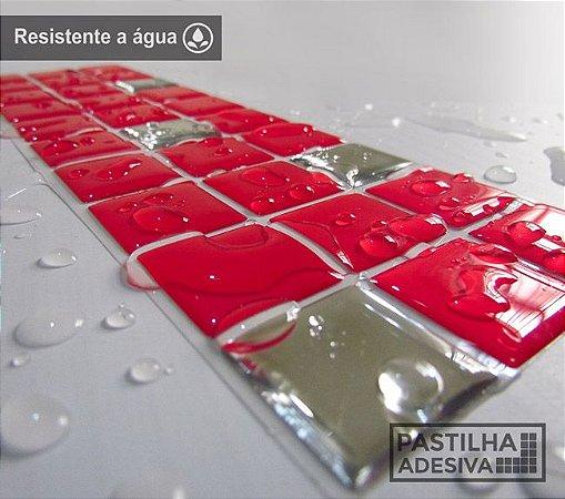 Faixa Pastilha Adesiva Resinada Espelhada 27x8 cm - AT168 - Vermelha