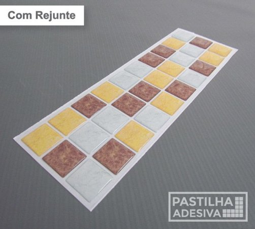Faixa Pastilha Adesiva Resinada 27x8 cm - AT183 - Amarelo Marrom