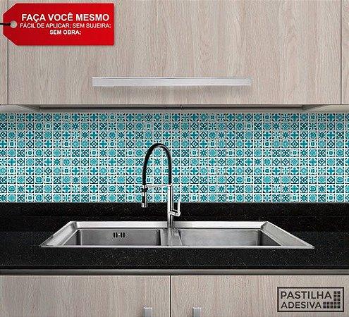 Placa Pastilha Adesiva Resinada 30x27 cm - AT198 - Azul