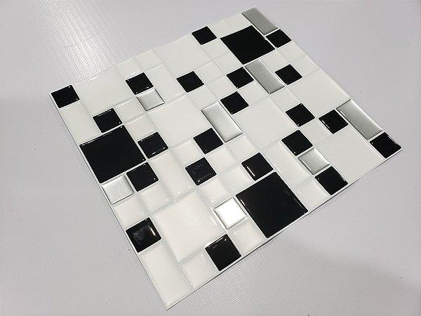 Placa Pastilha Adesiva Resinada 30x27 cm - AT199 - Preto Branco Escovado
