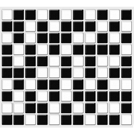 Placa Pastilha Adesiva Resinada 30x27 cm - AT201 - Preto Branco