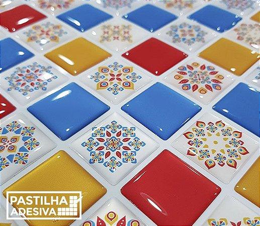 Placa Pastilha Adesiva Resinada 30x27 cm - AT204 - Colorido