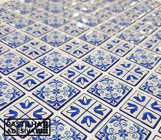 Placa Pastilha Adesiva Resinada 30x27 cm - AT214 - Azul
