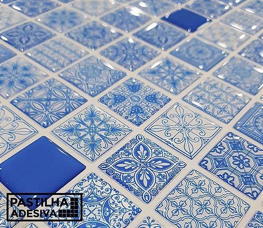 Placa Pastilha Adesiva Resinada 30x27 cm - AT215 - Azul