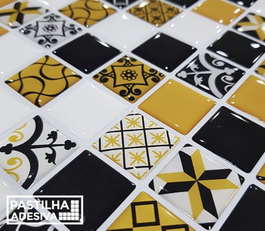 Placa Pastilha Adesiva Resinada 30x27 cm - AT217 - Amarelo Preto