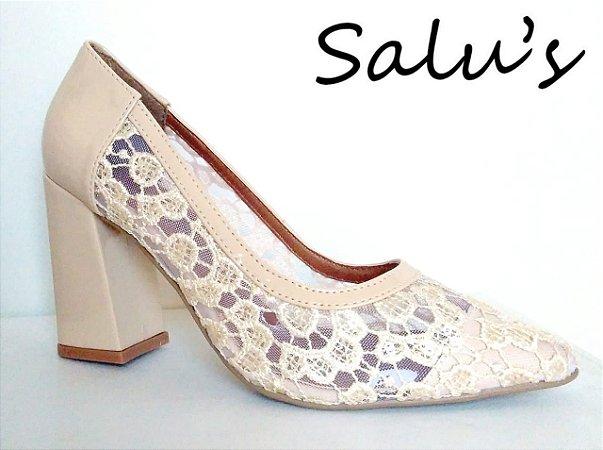 27edd53adc 9104 - Scarpin Offwhite com Renda - Loja Salu´s Revenda de Sapatos ...