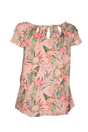 Blusa Flamingos Tropical
