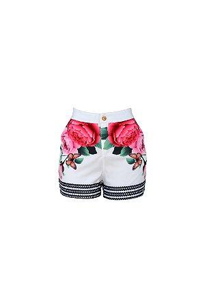 Short cintura alta flores