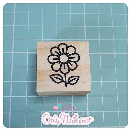 Carimbo Artesanal - Florzinha com cabinho - base 3x3cm