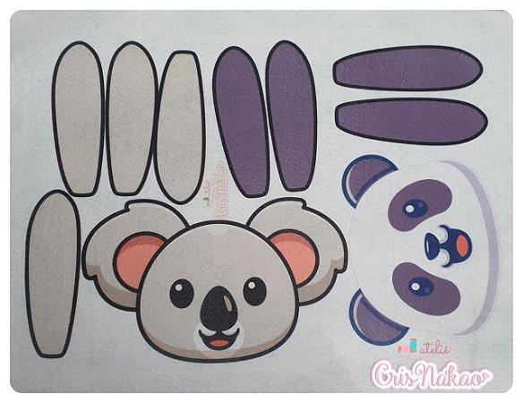 Feltro Estampado - Rostinho Coala e Panda para capa de Quiet Book