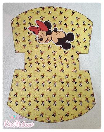 Feltro estampado - Nécessaire Minnie e Mickey fundo amarelo