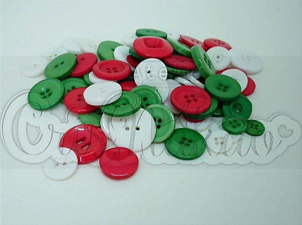Kit de Botões Divertidos Coloridos em Vermelho, Branco e Verde- Tamanhos Variados - 20gr - Círculo