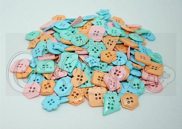Kit de Botões Divertidos Coloridos Forma e Tamanhos Variados - 20gr - Círculo
