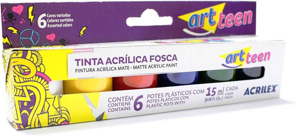Tinta acrilica fosca para artesanato Estojo C/06 Cores Sort.15ml. Acrilex