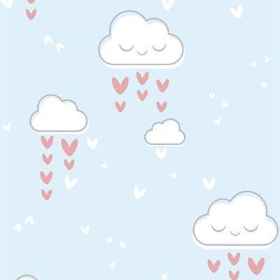 Feltro Estampado Chuva de Amor Azul - Santa Fé