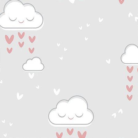 Feltro Estampado Chuva de Amor Cinza - Santa Fé