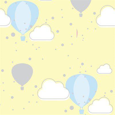 Feltro Estampado Céu de Balões Creme - Santa Fé