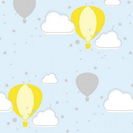 Feltro Estampado Céu de Balões Azul - Santa Fé