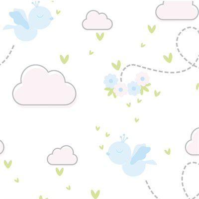 Feltro Estampado Céu de Passarinhos Livres Azul - Santa Fé