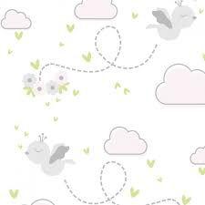 Feltro Estampado Céu de Passarinhos Livres Cinza - Santa Fé