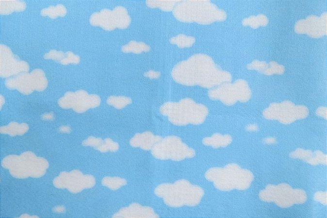 Feltro Estampado Nuvem Azul - Santa Fé by Fernanda Lacerda