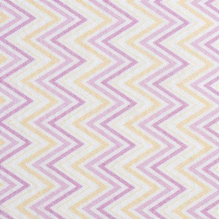 Feltro Estampado Color Baby Chevron Rosa - Santa Fé