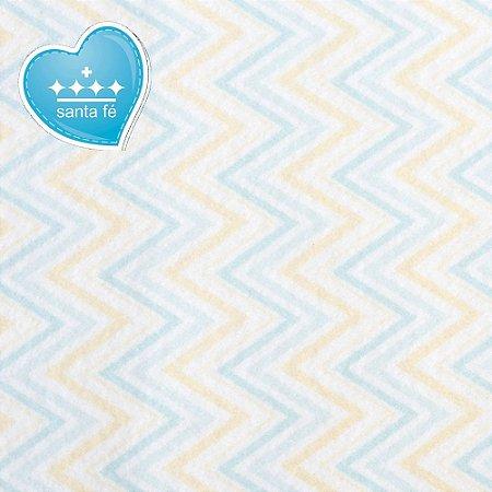 Feltro Estampado Color Baby Chevron Azul e Amarelo - Santa Fé