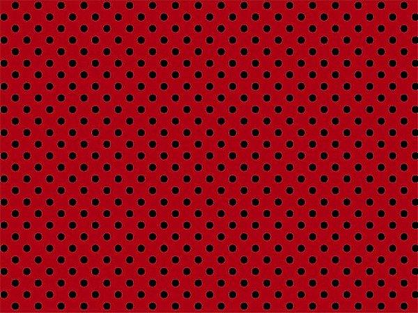 Feltro Santa Fé - Poá Vermelho e Preto