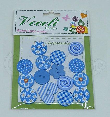 Botões Artesanais Compose Azul Claro