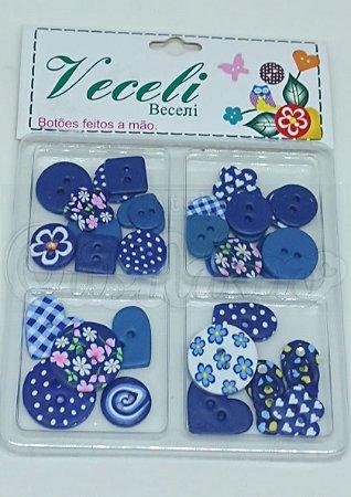 Botões Artesanais Kit Compose Azul Marinho