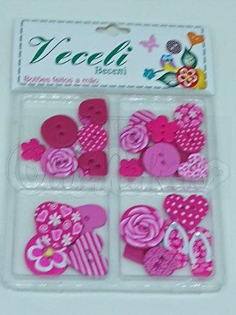 Botões Artesanais Kit Compose Pink