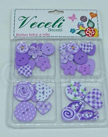 Botões Artesanais Kit Compose Lilás