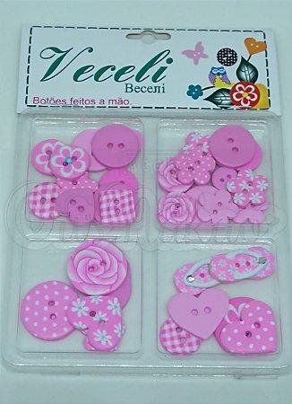 Botões Artesanais Kit Compose Rosa